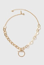 Topshop Rhinestone T Bar Chain Necklace Gold