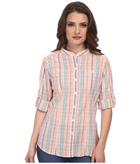 Dockers Petite The Convertible Cargo Shirt Malorie Plaid Women's Clothing Pink