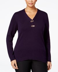 Charter Club Plus Size Henley Sweater Only At Macy's English Plum