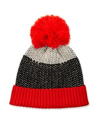 Neiman Marcus Zingy Knit Wool Hat Blk White