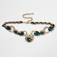 River Island Womens Gold Tone Emerald Teardrop Choker
