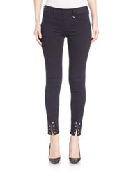 True Religion Eyelet Hem Skinny Pants Overdye Black