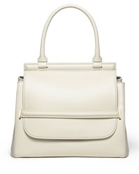 The Row Smooth Leather Top Handle Medium Satchel Bag White