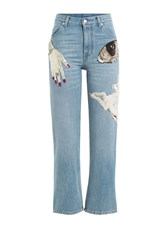 Alexander Mcqueen Embellished Cropped Jeans Blue