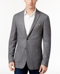 Tallia Men's Big And Tall Slim Fit Light Gray Herringbone Sport Coat Grey