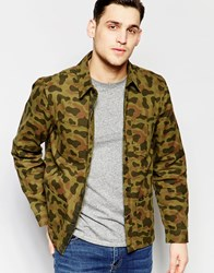 Lee Overshirt Jacket All Over Camo Print In Green Green
