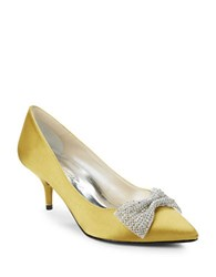 Caparros E Bow Bow Accented Satin Stiletto High Heels Yellow
