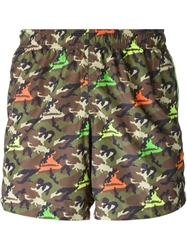 Dondup Camouflage Print Swim Shorts Green