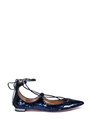Aquazzura 'Christy' Lace Up Sequin Flats Blue