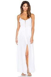 Indah Uma Pleat And Button Maxi Dress White