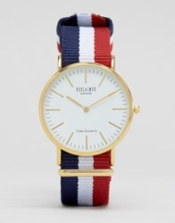 Reclaimed Vintage Stripe Canvas Watch With White Dial Navy Red White Multi