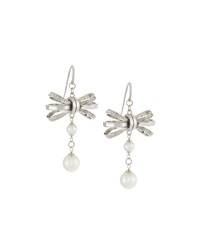 Majorica Bow And Pearl Drop Earrings
