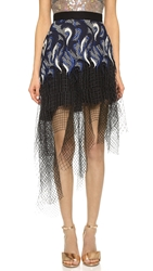 Rodarte Embroidered Lace And Net Skirt Navy Black Silver