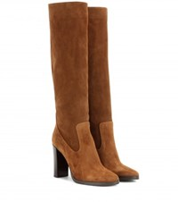 Jimmy Choo Honor 95 Suede Knee High Boots Brown
