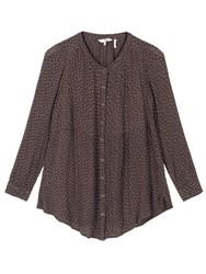 Fat Face Evie Seed Ditsy Longline Top Chocolate