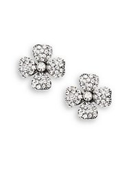 Azaara Vintage By Swarovski Crystal Silverplated Silver And Copper Floral Stud Earrings