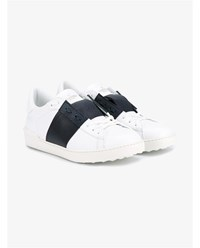 Valentino Rockstud Leather Sneakers White Navy