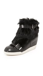 Ash Bobbi Fur Wedge Sneakers Black Black