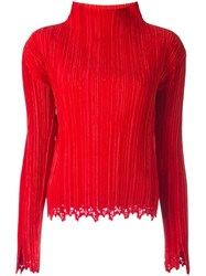 Issey Miyake Vintage Pleated Turtle Neck Top Red