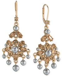 Carolee Gold Tone Gray Imitation Pearl Chandelier Earrings