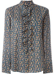 Paul Smith Ps By Ruffle Detail Blouse Blue