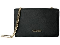 Calvin Klein On My Corner Saffiano Crossbody Black Gold Cross Body Handbags