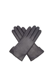 Agnelle Rabbit Fur And Leather Gloves Navy