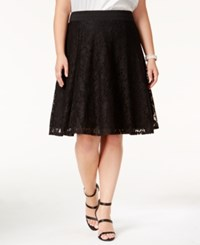 Ny Collection Plus Size Lace A Line Skirt Jet Zoelily