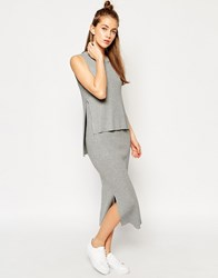 Asos Maxi Dress In Rib Double Layer Detail Grey