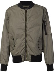 Hudson Zipped Bomber Jacket Green