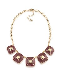 1St And Gorgeous Enamel Pyramid Pendant Statement Necklace In Goldtone Garnet