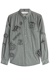 Golden Goose Button Down Shirt With Patches Green