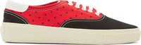 Saint Laurent Black And Red Canvas Star Low Top Sneakers