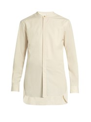 Christophe Lemaire Collarless Cotton Poplin Shirt Cream