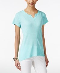 Styleandco. Style And Co. Petite High Low Split Neck T Shirt Only At Macy's Pacific Aqua