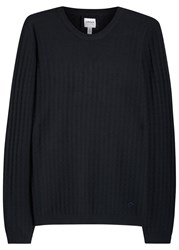 Armani Collezioni Midnight Blue Diamond Knit Jumper Navy