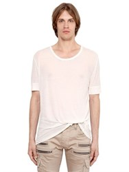 Balmain Destroyed Cotton And Linen Jersey T Shirt