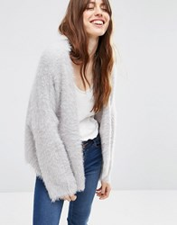 Asos Cropped Cardigan In Fluffy Yarn Pale Grey