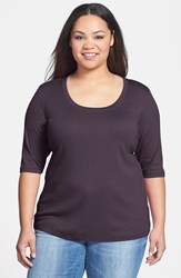 Sejour Plus Size Women's Elbow Sleeve Scoop Neck Tee Purple Italian