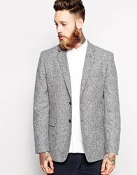 French Connection Wool Neppy Blazer In Slim Fit Silver