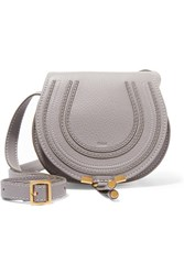 Chloe Marcie Mini Textured Leather Shoulder Bag Gray