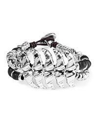 Uno De 50 Sitting Bull Leather Bracelet Silver