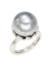Kenneth Jay Lane Faux Pearl Ring Silver