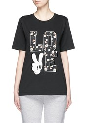 Mo And Co. 'Love' Mickey Mouse Applique T Shirt Black