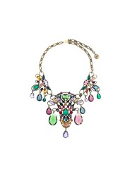 Lanvin Stone Cluster Necklace Metallic