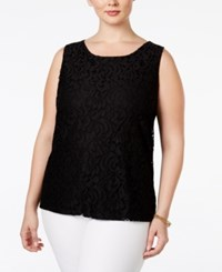 Charter Club Plus Size Sleeveless Lace Top Only At Macy's Deep Black