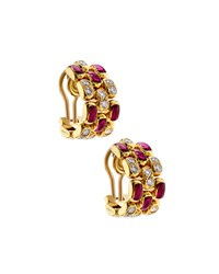 Chopard 18K Diamond And Ruby Half Hoop Clip Earrings Women's