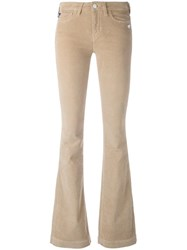 Love Moschino Stretch Flared Trousers Nude Neutrals
