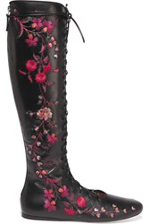 Etro Lace Up Embroidered Leather Boots Black Purple
