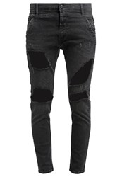 Replay Denice Relaxed Fit Jeans Black Heavy Destroyed Black Denim